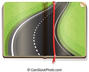 Empty road on the book