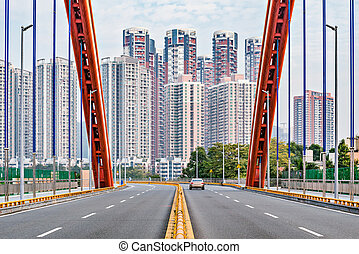 Empty road on the bridge. Shenzhen. China.