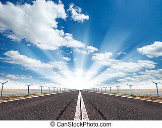 Empty road - Empty asphalt road with sunshine