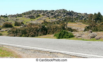 """empty road, rock formation in natural contryside, assos,..."