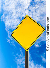 Empty Road Sign Against Blue Sky With Copy Space