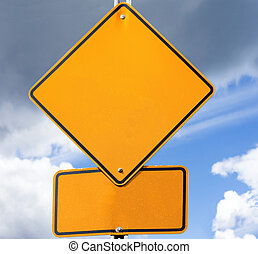 Empty road sign for your message