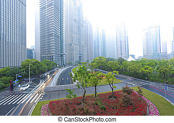 Empty road with modern city architecture background - Empty...
