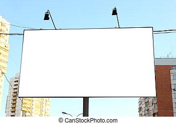 Empty roadside billboards at city