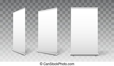 Empty rollup mockups. Blank white banners for exhibition, ...