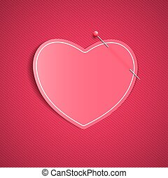 Empty romantic note from a paper heart with a pin. Festive graphic element. Happy Valentine's Day. Pink background with a pattern of lines. Note for a loved one. Vector.