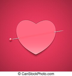 Empty romantic note in the form of a heart with a pin. Happy Valentine's Day. Pink background with a pattern of lines. Note for a loved one. Vector.