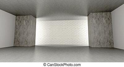 Empty room - 3D rendered Illustration. An empty room. Dark...
