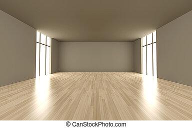 Empty room - 3D rendered Illustration.