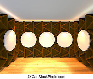 empty room abstract brown gallery - Empty room interior with...