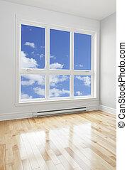 Empty room and blue sky seen through the window - Blue sky ...