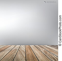 Empty room and wood floor. Vector illustration.