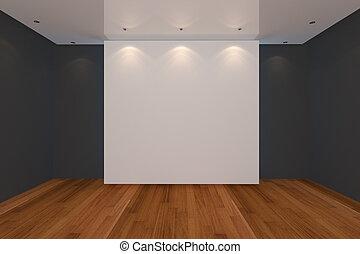 empty room black wall and wood floor