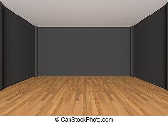 Empty room black wall