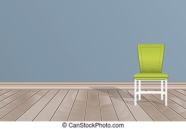 empty room blue wall wooden floor and chair