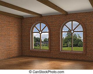 empty room brick wall, 3d illustration