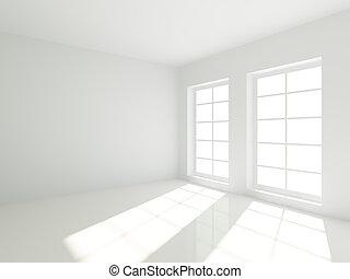 Empty Room - 3d Empty White Room with Windows