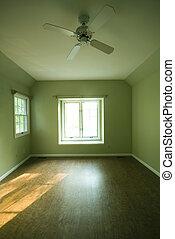 empty room condominium condo apartment green walls