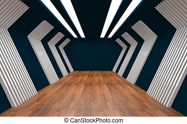 Empty Room decorated aluminum wall and wood floor.