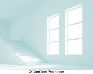 Empty Room - 3d Illustration of Empty Room with Staircase
