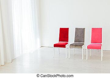 empty room, drie, stander, witte , stoelen
