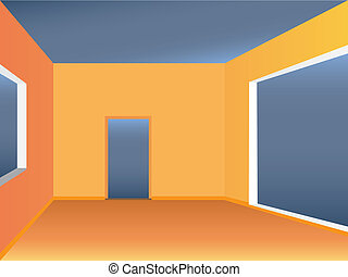 Empty simple living space view. Color vector illustration.