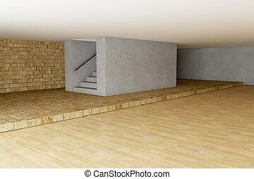 Empty room in 3d