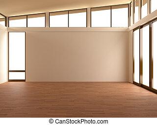 Empty room in modern room