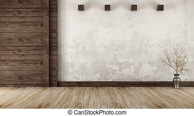 Empty room in rustic style