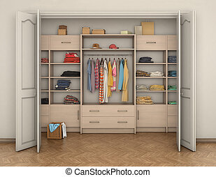 empty room interior and big closet with clothes; 3d...
