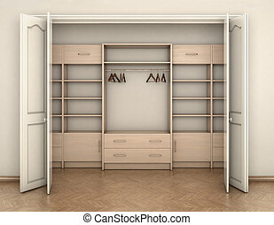 empty room interior and big white empty closet; 3d illustration