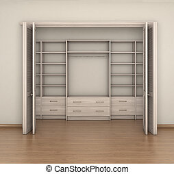 Empty Room Interior And Big Closet 3d Illustration