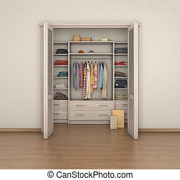 empty room interior and full closet; 3d illustration