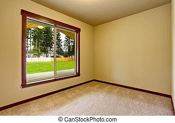 Empty room interior in beige tones and carpet floor. Northwest, USA
