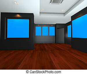 Empty room interior with blue chromakey backdrop canvas