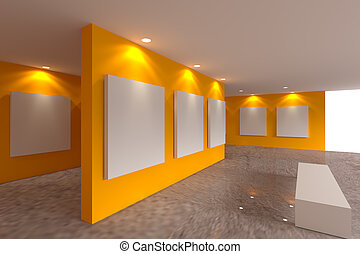 canvas on orange wall in the gallery