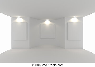 canvas on white wall in the gallery