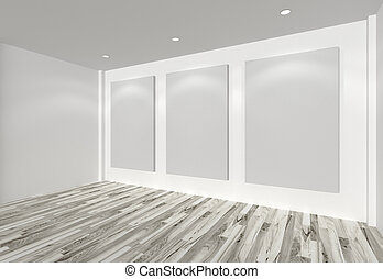 white canvas on white wall in the gallery