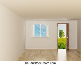 Empty room. Landscape behind the open door. 3D image