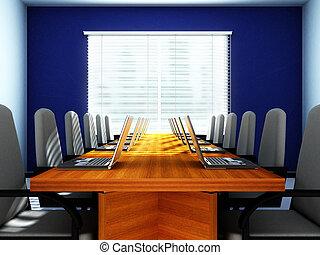 empty room, laptops