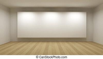 empty room, met, witte , frame, kunstgalerie, concept, 3d, illustratie