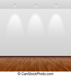 empty room, met, witte muur, en, hout