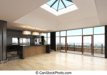 Empty room of a Highrise residence with a city background.