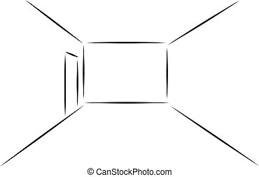 Sketch of empty room in a flat. Vector illustration