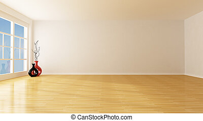 empty room - empty white room with parquet floor - rendering
