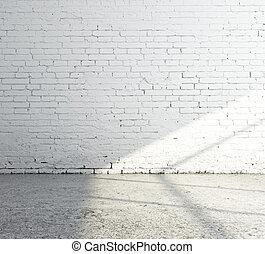empty room - empty white brick room and sunlight