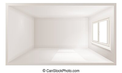 Empty Room Vector. White Wall. Plastic Window. Three Dimensional Interior. Indoor Design. 3d Realistic Apartment. Illustration