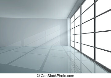 Empty room - White empty room with shadow from a large...