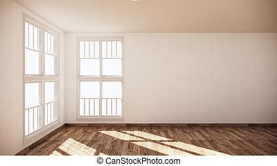 Empty room white on wooden floor interior design. 3D rendering