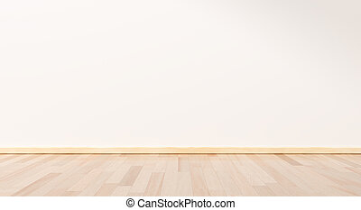 Empty room white on wooden floor interior design. room modern minimal japan style. wall white for text your space. 3D rendering.